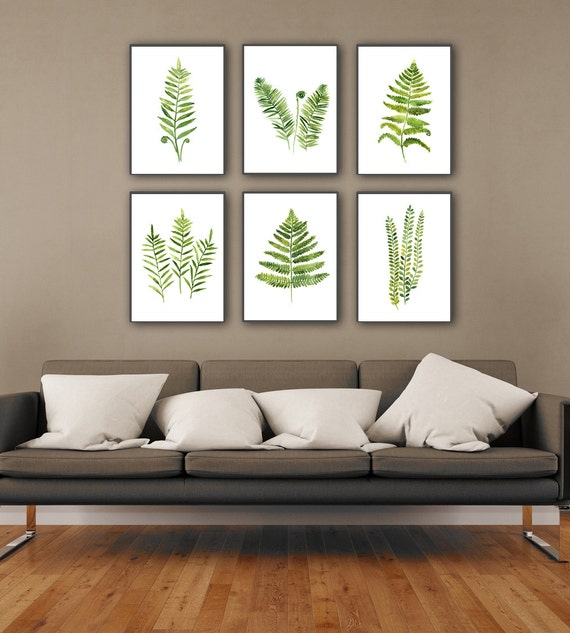 Fern Plant Art Print Botanical Living Room Wall Decor Green