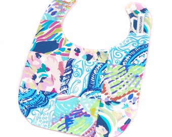 Lilly Pulitzer Baby Bib - Lilly Pulitzer patchwork Bib - Ready to Ship