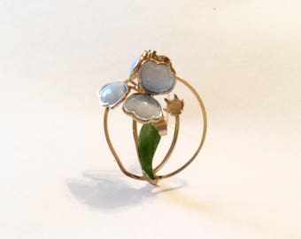 Vintage Light Blue Enamel Flower Brooch, Blue Iris, Blue orchard, Circle Brooch , missing faux pearls