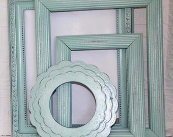 Frame Set Blue Painted Shabby Chic Vintage Distressed Set Of Four 5x7 Frames Made to Order
