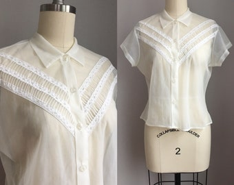 Vintage 1950's Sheer See Thru Blouse Size Small