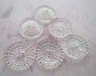 6 pcs. vintage clear glass bumpy sew thru buttons 16mm - b192
