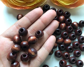 12mm Brown Wooden Beads, 75 pcs Big Size Round Brown Wooden beads, Round Beads, Wood Beads, Brown beads, Jewelry Making Beads