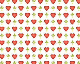 By The HALF YARD - Follow Me by Dana Brooks for Henry Glass, Pattern #9778-08 Tonal Red Hearts, Yellow Dots and Green Leaves on White