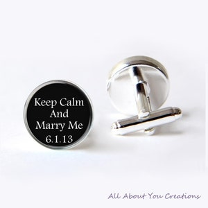 bouton de manchette keep calm and marry me