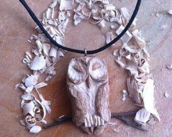 SALE ...... Hand Carved Sleepy Owl in OAK pendant necklace