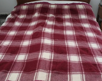 Beautiful Vintage Red and White Plaid Wool Blanket