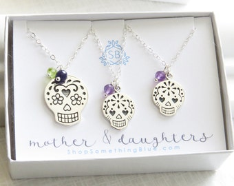 Mother & 3 Daughter Sugar Skulls • Birthstone and Skull Necklace • Calaveras Charm • Mother's Gift • Daughter Gift • Dia De Los Muertos