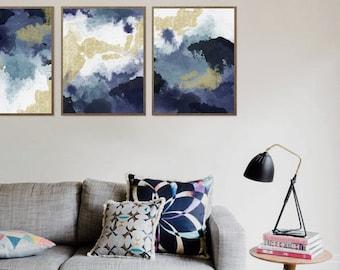 Abstract print, Abstract art, Navy Blue, Art, Gold glitter, Watercolor, Modern art, Digital art, Printable art, Digital Instant Download A3