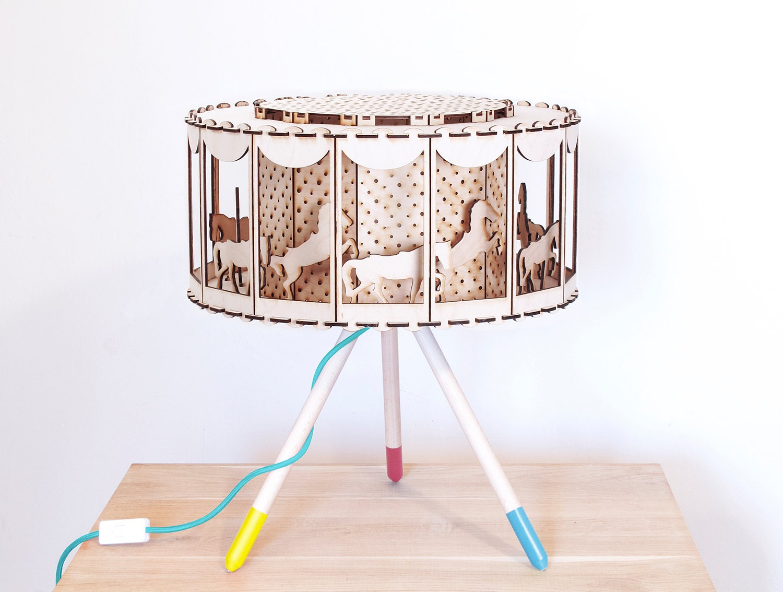 Carousel lampshade carousel horse wood lamp nursery decor zoom aloadofball Image collections