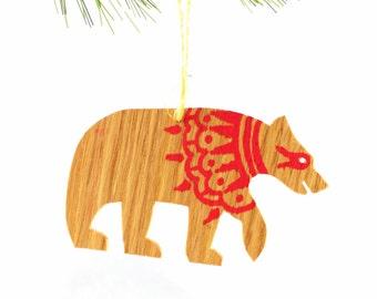 Hand Painted Wooden Ornament- Bear Tsalagi Cherokee Made