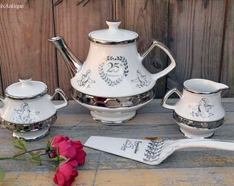 Set of Vintage Gibsons Staffordshire England '25th Anniversary' Retro Teapot, Sugar Bowl, Creamer and H.Aynsley &Co Ltd Ironstone Cake Knife