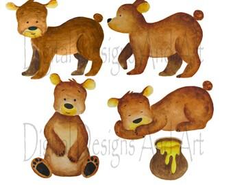Watercolor bear clipart, Bear clipart, Teddy bear clip art, Cute bear clipart, Bear nursery art, Brown bear illustration, Bear illustration