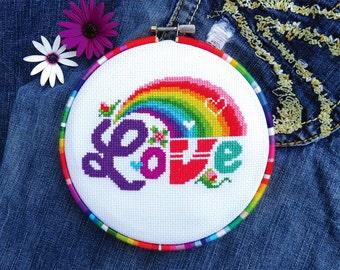 Rainbow Cross Stitch Pattern, Love Cross Stitch, Cross Stitch Love Valentines Day Cross Stitch Gay Cross Stitch LGBT Pride, Punto De Cruz
