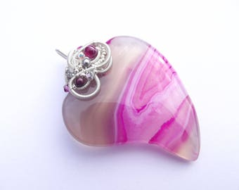 The Heart of Every Girl 6 * pendant large wire-wrapped agate Crystal stones
