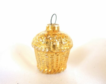 Vintage Gold Basket Feather Tree Christmas Ornament