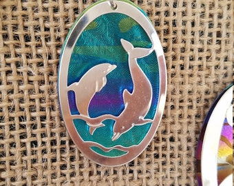 Dolphin jewelry, gift,animal totem wolf necklace, niobium handmade pendant, gift ideas wolves,  metal niobium jewelry, nature jewelry wolves