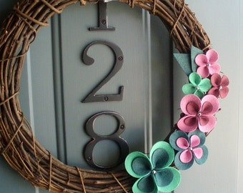 Grapevine Wreath Felt Handmade Door Wall Decoration - Spring It On 12in