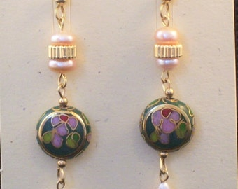 Vintage Green Cloisonne Beads with Pink Pearls All Gold Filled