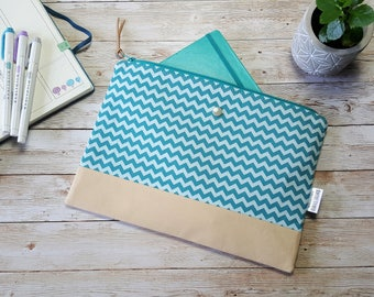 Bullet journal case | planner pouch | large zippered bag | travel journal case | a5 notebook bag | accessory bag | chevron geometric teal