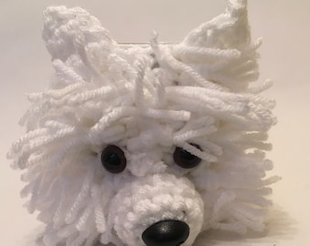 West Highland Terrier - hand crochet mug cosy with mug