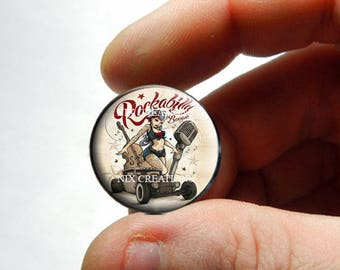 Retro Hotrod Rockabilly Pinkup Cabochon - Design 3 - for Jewelry and Pendant Making