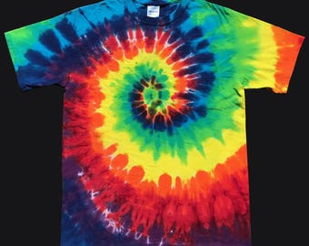 Adult Plus Size Tie Dye T-Shirt Rainbow Spiral 3X, 4X, 5X
