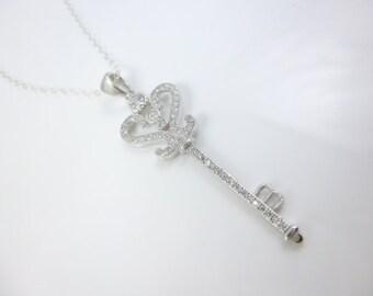 Key Necklace, Sterling Silver Key Pendant, Key Jewelry, Cubic Zirconia Necklace, Key to my Heart Necklace