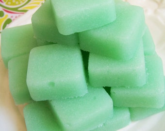 Solid Sugar Scrub Soap Mint Set - Scrub Soap, Mint Scrub, Skin Care, Almond Oil, Party Favors, Gift For Her, Gift For Him, Bridal Shower