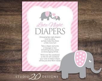 Instant Download Pink Elephant Late Night Diapers, 8x10 Pink Diaper Thoughts, Girl Elephant Baby Shower Decorate Diaper Activity 22B