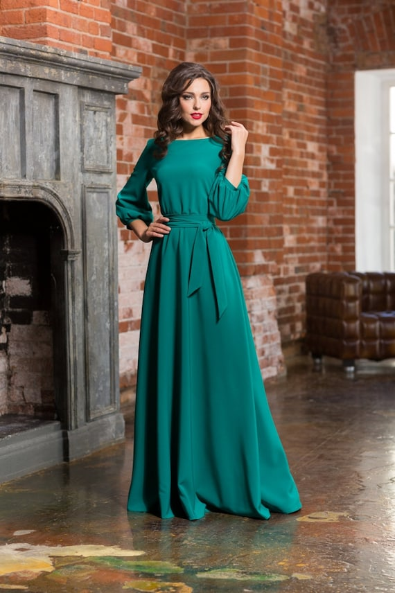 Long turquoise woman dress floor Autumn Winter Spring dress