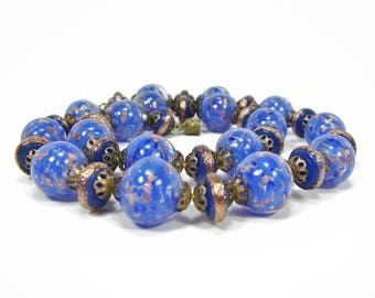 Blue Glass Bead Necklace, Venetian Glass, 16 Inch, Sommerso Aventurine Glass, 1950s Jewelry, Venetian Art Glass Choker