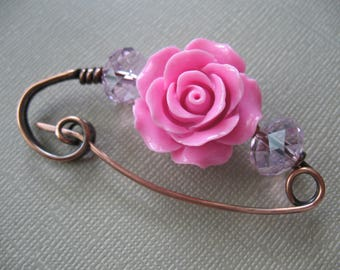 A Rose Copper Scarf Pin, Sweater Pin, Hat Pin, Shawl Pin, Closure