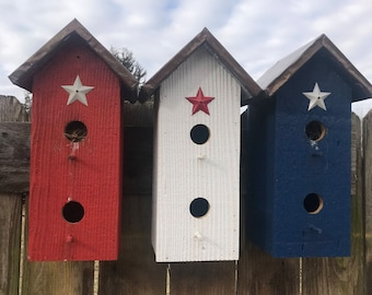 Red White & Blue Patriotic Bird Houses