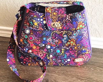 Handbag, Shoulder Bag, Purse, Tote Bag, Summer Bag in Purple Bubbles with Matching Key Fob with Adjustable Shoulder Strap