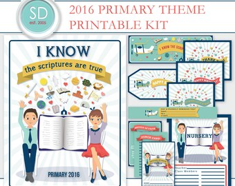 """LDS Primary 2016 Theme Kit """"I Know the Scriptures are True"""" -- Printable Digital File"""
