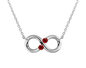 Taormina Infinity Necklace Garnet Tension Set Steel Stainless