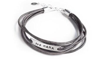 IVF-Mama-Armband, Unfruchtbarkeit Schmuck, Leder Wickelarmband Stil, IVF Schmuck, Faux Wickelarmband, Sterling Silber, Muttertagsgeschenk