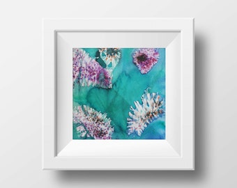 abstract painting  watercolor teal painting gift for girlfriend gift for mom heart print wall art teal