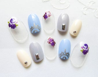 Small & Short Oval Nails / Fake Nails // Acrylic Nails / Press on Nails / Oval / Flower / Clear / Nails