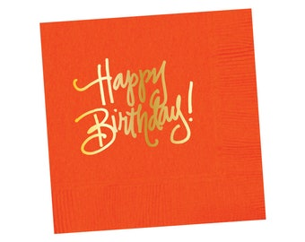 Napkins | Happy Birthday - Orange