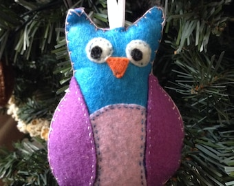 Owl, pink and blue hand-sewn felt ornament