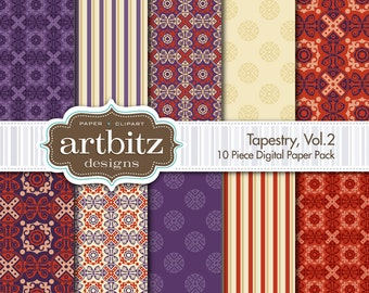 "Tapestry, Vol. 2, 10 Piece Damask Digital Scrapbooking Paper Pack, 12""x12"", 300 dpi .jpg, Instant Download!"