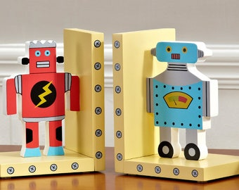Robot Wooden Nursery Bookends / Book stands / Book holders -  Birthday / Baby Shower Gift