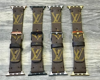 Louis Vuitton Apple Watch Band, 38mm, 42mm, Rose Gold, Gold, Silver, Black, LV Upcycled Watchband, Reworked, Authentic bags used ONLY