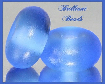 """Frosted Ocean Blue...""""Sea Glass"""" Spacer Bead Pair...Handmade Lampwork Beads SRA, Made To Order"""