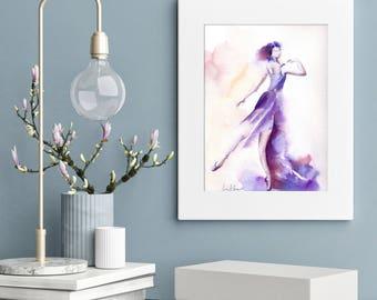 Ballerina ORIGINAL Watercolor Painting, Watercolour Ballet Art, Ballerina in purple painting, Ballet Painting art