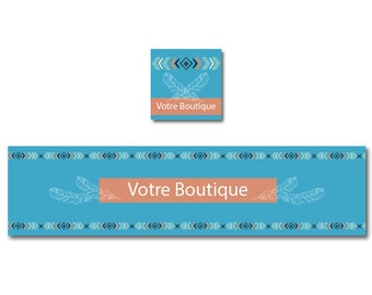 Boho, etsy banner shop turquoise Indian frieze banner banner
