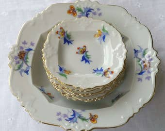 Schwarzenhammer Bavaria 237 Dainty Floral Condiment, Butter, Candy, Pin Dish Set (1905-1923)