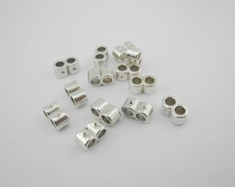 10pcs  Double Holes 3.2mm Antique Silver Slider Spacer Beads for Round Leather Cord --PAT208